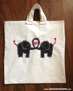 Bolso playero con elefantes. myvioletdesigns.com