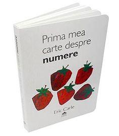 """Prima mea carte despre numere - Eric Carle; Varsta: 0-6 ani; """"Prima mea carte despre numere"""" este o carte cu activități, concepută astfel încât copiii mici să poată învăţa numerele până la zece printr-un joc simplu și amuzant. Cărţile sunt cartonate integral, au colțurile rotunjite și un design ingenios – paginile sunt tăiate pe jumătate, iar copiii trebuie să identifice numărul din partea de sus a fiecărei pagini, căutând printre ilustraţiile din partea de jos."""