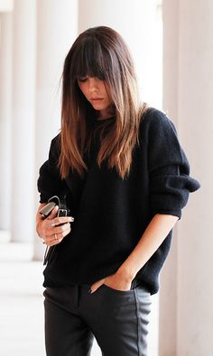 This HAIR. Ombre, bangs, thick, choppy layers.