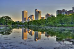 lower east side/downtown skyline - looking southwest, across the lagoon, from near mckinley marina Milwaukee Lakefront, Milwaukee Wisconsin, Before Sunset, Built Environment, Best Cities, Urban Landscape, Great Photos, Photo Art, New York Skyline