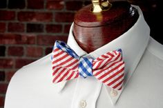 High Cotton Ties | Nantucket Red and Royal Blue Reversible Bow Tie