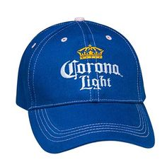 Features Corona Light branding on the front with adjustable velcro back. Pink accents on top and under brim. Corona Shirt, Corona Beer, Happy Hour Drinks, Bag Clips, Pink Accents, Caps For Women, Mens Caps, Caps Hats, Pink Blue