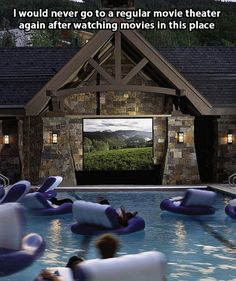 Dive-in movie theater! Outdoor backyard movie theater for the pool OMG this would be so fun! Pool Movie, Dive In Movie, Backyard Movie, Movie Party, Backyard Patio, Home Theatre, Theatre Design, Moderne Pools, Dream Pools