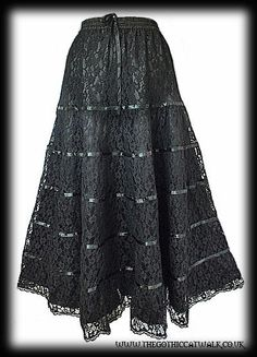 Long Black Satin & Lace Tiered Gothic Skirt | Women's Gothic