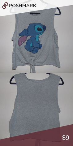 Stitch tank top Cute front tie tank/muscle top that is great for summer! It's a little cropped and it has only been worn a few times. :) Disney Tops Tank Tops