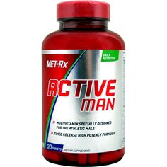 Met-Rx Active Man Daily 90 ct   Regular Price: $27.99, Sale Price: $19.99   OvernightSupplements.com   #onSale #supplements #specials #Met-Rx #VitaminsandMinerals    Active Man is designed for men of all ages who need a multivitamin that works just as hard as they do Active Man is enhanced with key vitamins and minerals needed to support energy metabolism and nutrient breakdown two critical factors for athletic performance and recovery Each serving also contains potent levels
