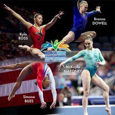 Yay finally!!! USA Gymnastics names 2013 Women's World Championships Team for Antwerp September 30-October 6! Kyla Ross, McKayla Maroney, Simone Biles, and Brenna Dowell. :)
