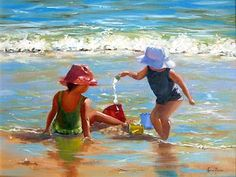 watercolour paintings- friends at the beach