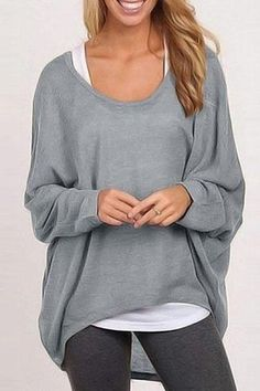 7e86fc0585d New Round Neck Asymmetric Hem Plain Batwing Sleeve Sweaters