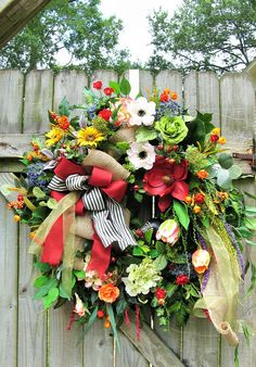 Wreaths For Front Door, Door Wreaths, Grapevine Wreath, Spring Wreaths, Summer Wreath, Country Wreaths, Floral Wreaths, Wreath Ideas, Grape Vines