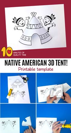 Native American Tent Native American Tent B&W printable [avia_codeblock_placeholder uid= Indian Arts And Crafts, Easy Arts And Crafts, Crafts To Do, Native American Games, Native American Crafts, Paper Crafts Magazine, Cultural Crafts, Handmade Birthday Cards, Handmade Cards