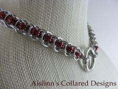 Enthrall Red and Silver Chainmaille BDSM by aislinnscollared