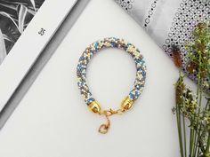Melange Blue - ilovehandmade - Bransoletki z koralików  #bransoletka #biżuteria #bracelet #jewellery #jewelry #beadcrochet #beading #beadwork #blue #melange