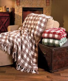 Cozy Gingham Knit Throw Blanket W/Fringe Fluffy & Soft Choose From 3 Colors