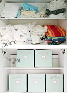 Labeled fabric bins are an easy way to straighten and organize your linen closet. All queen sheets go in one bin, twin in another, etc.