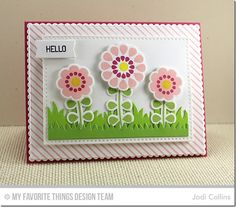 Build-able Blooms, Diagonal Stripes Background, Build-able Blooms Die-namics, Cross-Stitch Rectangle STAX Die-namics, Grassy Fields Die-namics - Jodi Collins #mftstamps
