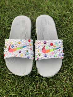 Customized by Sprinkle My Feet Designer Crocs, Nike Flip Flops, Cute Slides, Nike Slippers, Sweet 16 Gifts, Bad Bad, Awesome Shoes, Personalized Gifts, Period