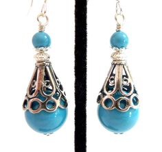 Turquoise Pearl Earrings Aqua Sterling Silver by Elegencebyelaine, $30.00