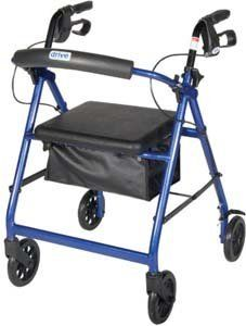 """Aluminum Rollator with Fold Up and Removable Back Support, Padded Seat, 6"""" Casters with Loop by Drive Medical. $78.91. Aluminum Rollator with Fold Up and Removable Back Support, Padded Seat, 6"""" Casters with Loop Locks, Color: Blue6"""" casters with soft-grip tires are ideal for indoor and outdoor use. Removable, hinged, padded backrest can be folded up or down as necessary. Comes standard with carry pouch. Optional basket (#802) available. Easy to use loop lo..."""