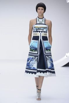 Mary Katrantzou RTW Spring 2013 - Love this stamp A-line dress! #londonfashionweek