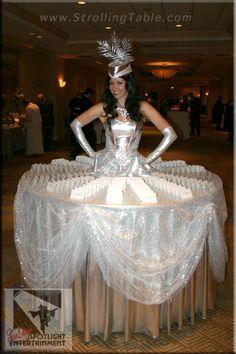 Silver Elegance Strolling Table