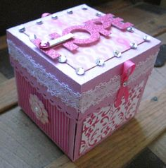 Pink Breast Cancer Exploding Box by PaperDollsLV on Etsy, $25.00