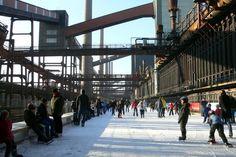 Emscher Park, Zollverein in Ruhr District, Germany Industrial Park, North Rhine Westphalia, Pedestrian Bridge, Urban Landscape, Walkway, Places To Go, Germany, Street View, Hard Graft