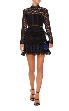 Self Portrait | Star Lace Mini Dress -  Refreshingly femine with high neck, cinched waist,fluted hem and lace paneling. Zip closure at back.