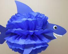 Kit di squalo carta velina pom pom sotto la decorazione di sirena di mare oceano acqua