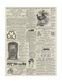 size: Giclee Print: Page of Advertisements : English Newspapers, Junk Journal, Journal Ideas, Bullet Journal, Norman Rockwell, Vintage Tags, Altered Books, Book Pages, Paper Background