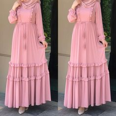 Maxi dresses with hijab styles – Just Trendy Girls: www.justtrendygir… Maxi dresses with hijab styles – Just Trendy Girls: www. Dress Muslim Modern, Muslim Dress, Abaya Fashion, Modest Fashion, Fashion Dresses, Maxi Dresses, Woman Dresses, Muslim Women Fashion, Islamic Fashion