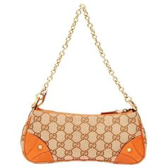 Pre-Owned Gucci Evening Shoulder Bag 3342 ($318) ❤ liked on Polyvore featuring bags, handbags, shoulder bags, orange, gucci purse, leather purses, evening purses, leather shoulder handbags and chain strap shoulder bag
