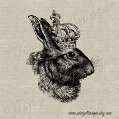 Rabbit with Crown. Instant Download Digital Image No.311 Iron-On Transfer to Fabric (burlap, linen) Paper Prints (cards, tags) Clip Art Vintage, Vintage Images, Lapin Art, Bee Creative, Download Digital, Engraving Illustration, Rabbit Art, Bunny Art, Vintage Typography