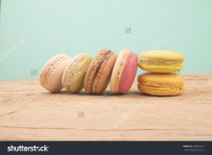 Macaroon Over Wooden Table On Vintage Background Color Stock Photo 284644571 : Shutterstock