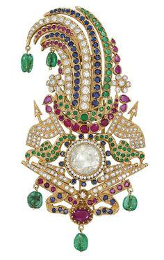 A DIAMOND AND MULTI-GEM SARPECH   mid 20th century