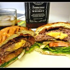 Jucy Lucy, or a burger stuffed with cheese....I like it because there is Jackk in the picture! haha