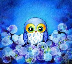 Owl Art - Lunar Owl - Painting Print by Annya Kai - Whimsical Baby Blue…