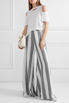 Paper London - Kelly Striped Linen Wide-leg Pants - Gray - UK