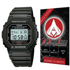 """Ace Armor Shield Shatter Resistant Screen Protector for the Casio Men's DW5600E-1V """"G-Shock"""" Classic Digital Watch with free lifetime replacement warranty"""