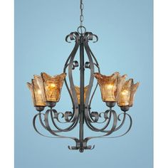 Kitchen...Chatsworth Burnished Gold Five-Light Chandelier with Umber Swirl Glass