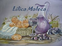 Pano de prato pintado por Lilica Moleca.Original Bia Moreira.
