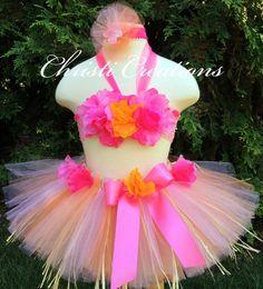 Baby Girl Luau Tutu SetPink Custom Hawaiian by ChristiCreations, $65.00