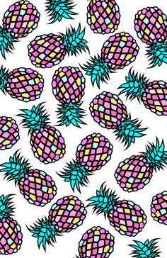 PINEAPPLES Art Print by Y.COH, fashion, fruit rapport, fruit pattern, art, colorful illustration