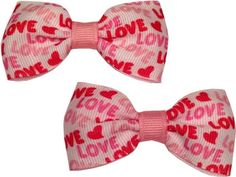 Pink Love MINI Bow set by RebelBowz on Etsy