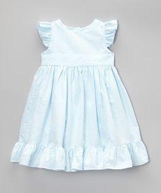 Another great find on #zulily! Aqua Seersucker Twirly Angel-Sleeve Dress - Toddler & Girls #zulilyfinds