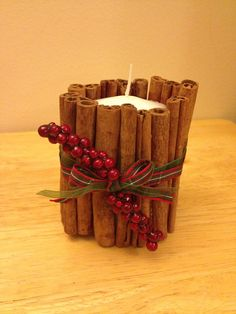 Cinnamon decorated candle.  on Etsy, £5.00
