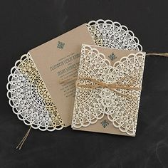 """Country Lace Rustic Wedding Invitations Make an impression with this laser-cut lace invitation.  Product Details      Dimensions: 4 5/8"""" x 6 1/4""""     Price Includes: Printed invitation assembled with wrap, jute cord and blank single kraft envelope     Production Time: 5 Working Days     Due to the unique laser process, discoloration on wrap may vary"""