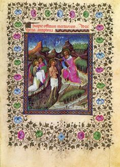 Visconti Hours Prayer Book, Baptism of Christ. 1972 facsimile lithographic print #Gothic