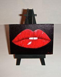 ACEO Original Acrylic Painting Red Lips Miniature  ArtbyDelo #Miniature