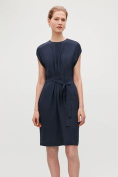 Model side image of Cos silk dress with wrap tie in blue Cute Dresses, Short Dresses, Dresses For Work, Mulberry Silk, Holiday Dresses, Dress Me Up, Silk Dress, Cap Sleeves, Women Wear